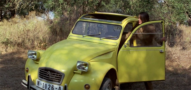 Melina and her Citroën 2CV in the movie For Your Eyes Only.