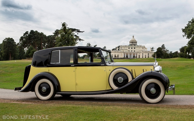 The Rolls-Royce Phantom III that was used in the movie Goldfinger back at Stoke Park during the Bond 50th Anniversary celebrations in 2012