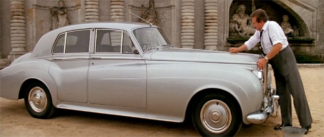 Patrick Macnee washing the 1962 Rolls-Royce Silver Cloud II in the movie A View To A Kill