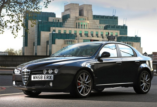 A promotional photo of the Alfa Romeo 159 Limited Edition in front on the MI6 building in London. The special edition was only available in the UK at the time of the release of the movie Quantum of Solace.