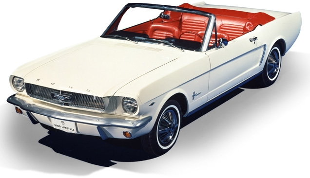 1964 Ford Mustang convertible, similar to the one seen in Goldfinger
