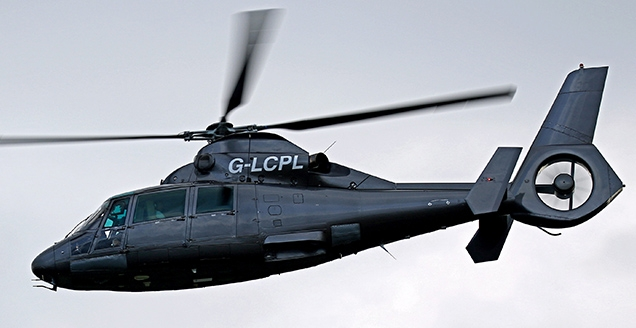 The Eurocopter AS365 Dauphin N2 G-LCPL helicopter that was used in SPECTRE