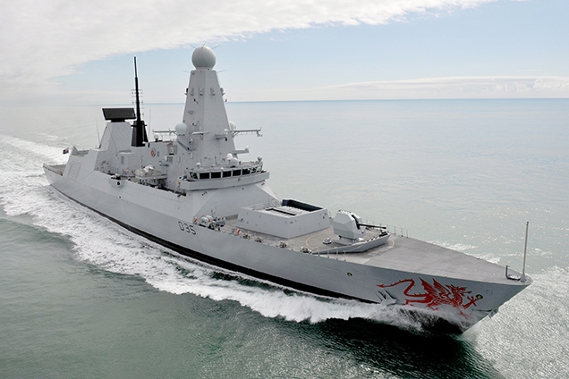 Royal Navy Warship HMS Dragon, a Type 45 destroyer, seen in 2011 exercising in the English Channel.