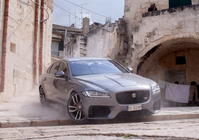 Jaguar XF in the No Time To Die chase scene in Matera, Italy