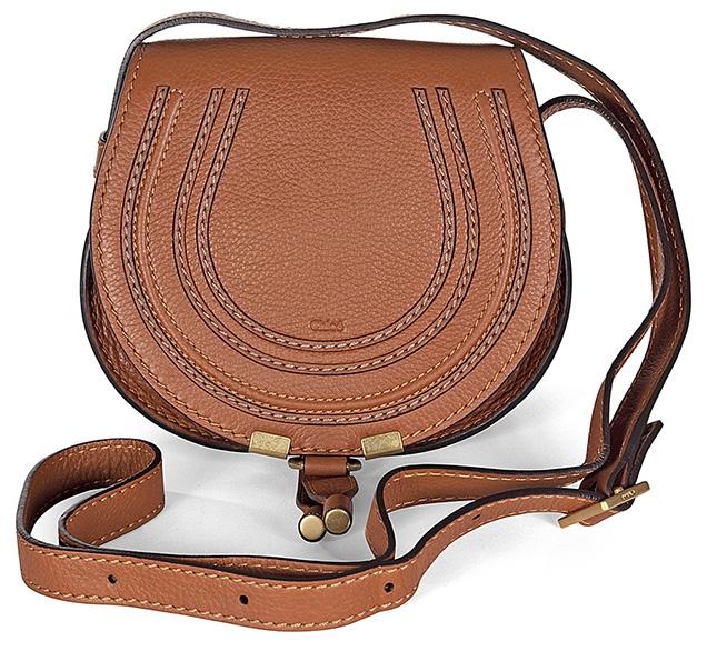 Chloé Marcie Small Saddle Bag tan leather