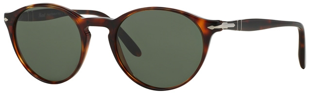 Persol PO3092SM Suprema 50 Petite Fit sunglasses in Havana frame and grey/green lenses 9015/31