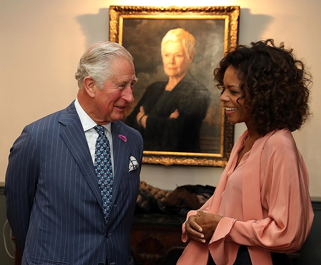 Naomie Harris wore the blouse during the visit of Prince Charles to the Pinewood Studios set in June 2019
