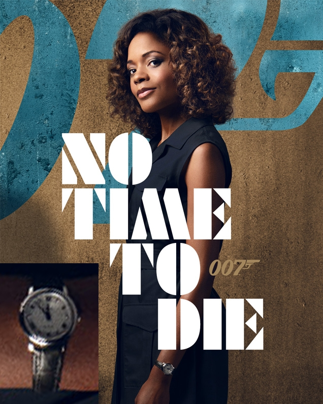 Eve Moneypenny (Naomie Harris) sports an Omega De Ville Prestige watch in the movie No Time To Die, seen her on the Moneypenny character poster.