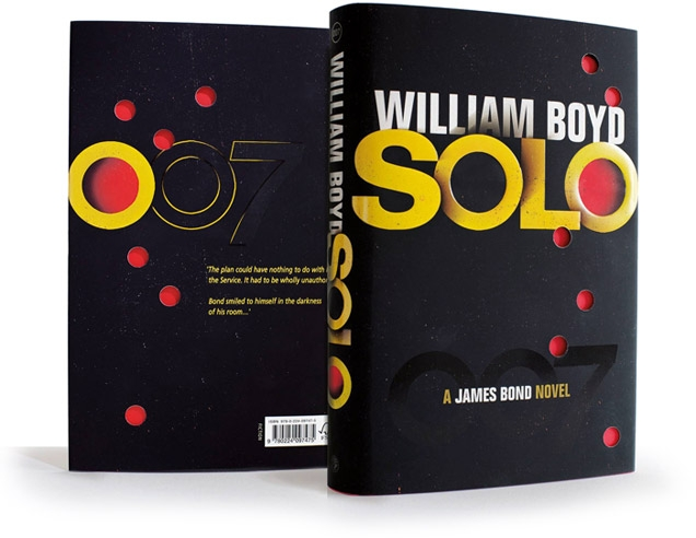 The UK sleeve design of the hardcover version of Solo features 'bullet holes' revealing the red cover of the book