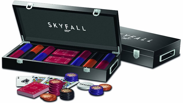 The SkyFall luxury poker set comes in a wooden box, containing 300 professional quality Floating Dragon Macau poker chips and one deck of cards, as seen in the film SkyFall.