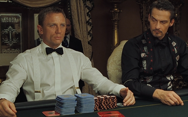 Daniel Craig as James Bond, wearing Albert Thurston White Moiré braces