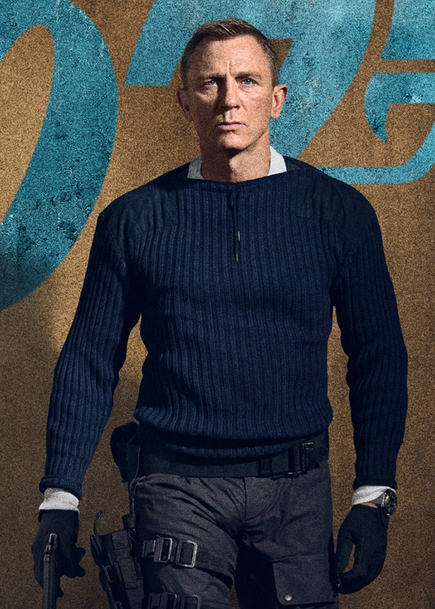 Daniel Craig as James Bond on a poster for No Time To Die, wearing the commando outfit including the N.Peal sweater