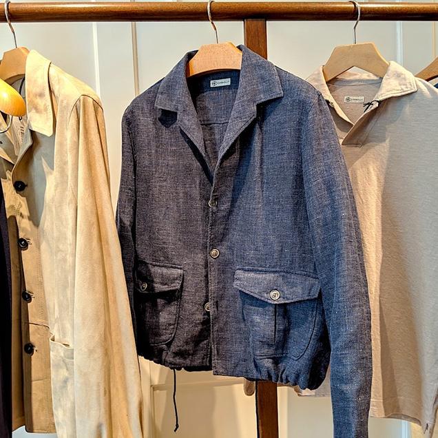 Connolly Giubbino jacket, in blue cotton/linen