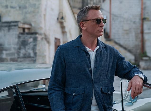 James Bond and his Aston Martin DB5 in Matera, Italy, in the movie No Time To Die.