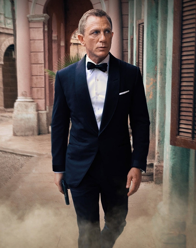 James Bond wearing a Tom Ford Atticus Tuxedo in a No Time To Die promotional photo