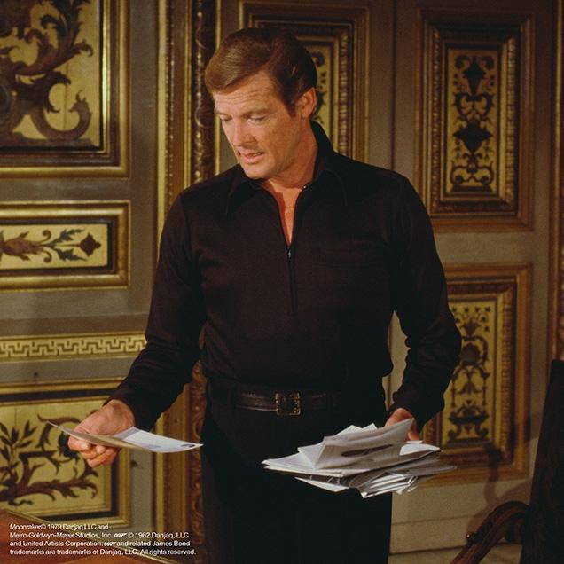James Bond (Roger Moore) wearing a half-zip shirt in Moonraker.