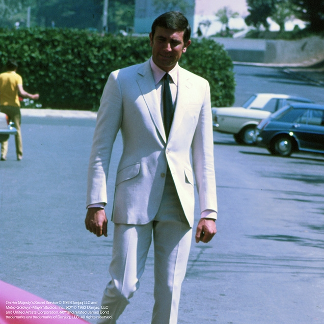 George Lazenby as James Bond in front of Hotel Palácio Estoril, Portugal, in On Her Majesty's Secret Service