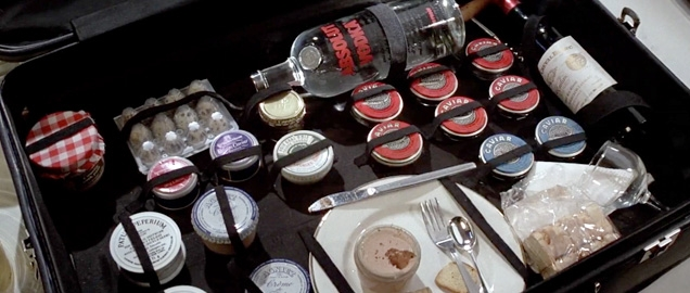 Bond's suitcase full of delicacies