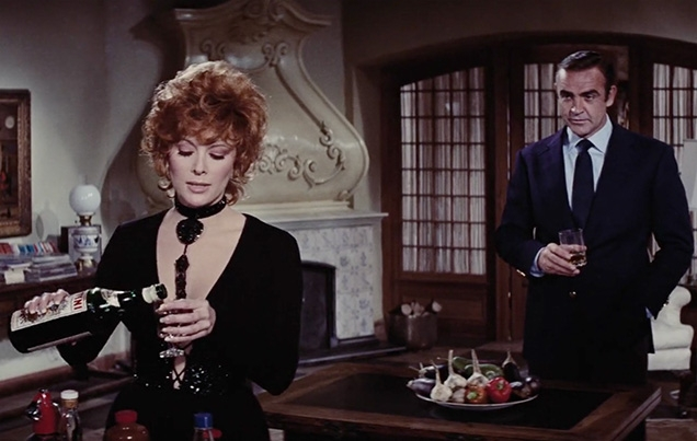 Tiffany Case (Jill St. John) pours herself a Martini Rosso vermouth in Diamonds Are Forever