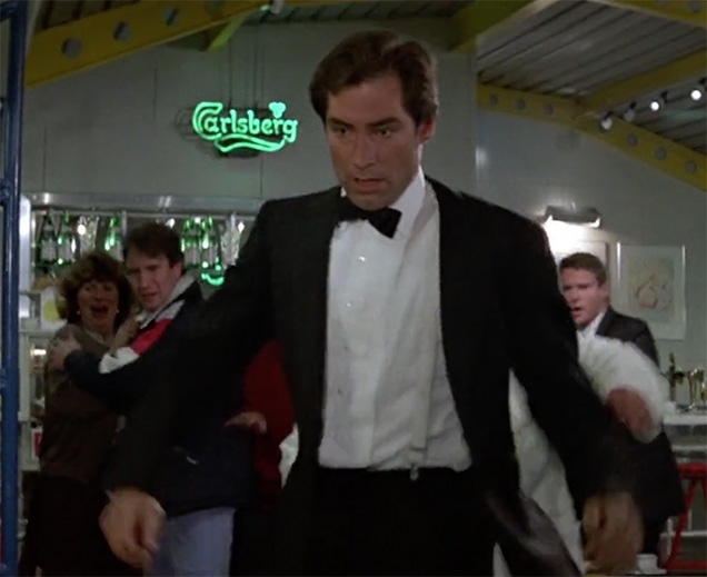 A Carlsberg neon sign is visible during the Prater café scene in The Living Daylights.