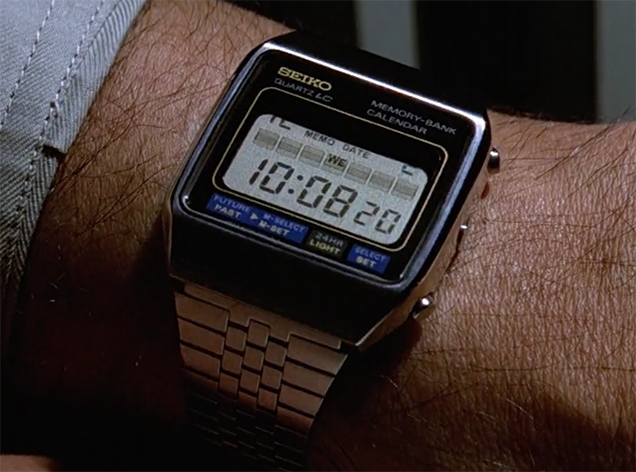 Great close-up of the Seiko M354 Databank watch in Moonraker, on James Bond's wrist