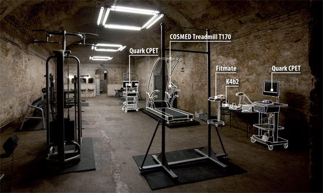Behind the scenes photo of Cosmed fitness equipment on the SkyFall set.