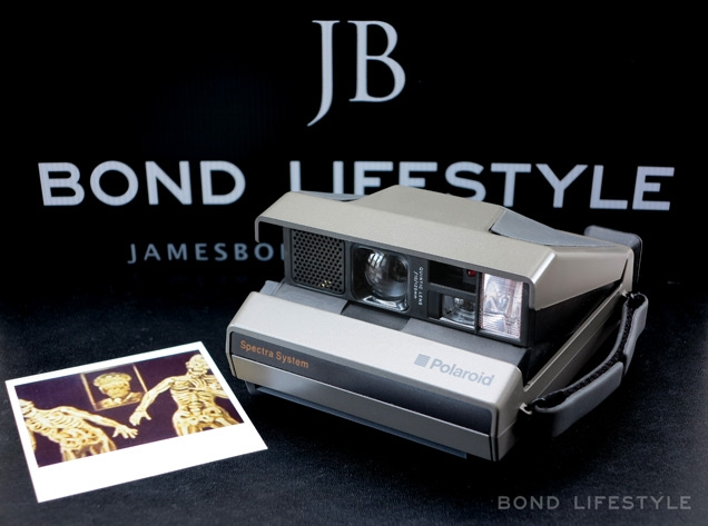 Polaroid Spectra System camera and replica photo, similar to the one seen in Licence To Kill