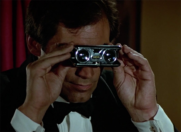 Timothy Dalton as James Bond uses Tasco Folding Opera Binoculars in The Living Daylights. He holds them upside down.