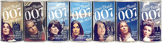 James Bond's 007 Special Blend cans feature beautiful women posing in front of famous London backdrops