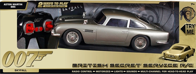 Toy State Aston Martin DB5 SkyFall (British Secret Service edition) with remote control and sound and light effects.