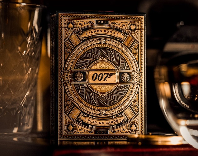 theory11 James Bond 007 Playing Cards come in a stunningly designed, 3D gold foil printed box