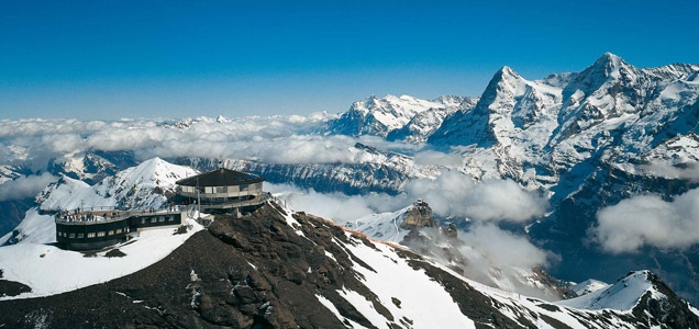 Piz Gloria is located on top of Schilthorn, a 2,970 metre high summit in the Bernese Oberland, Switzerland