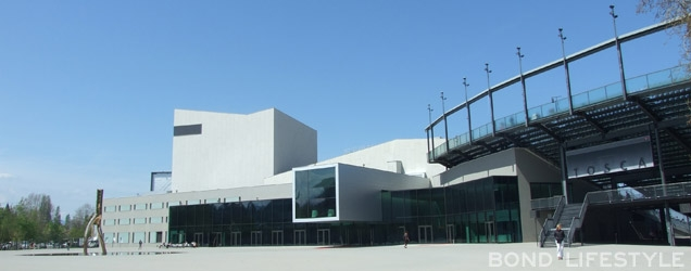 The futuristic front of the building area where the action takes place