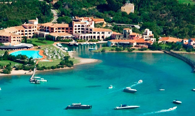 The Hotel Cala Di Volpe is beautifully situated in a small bay on the island of Sardinia, Italy