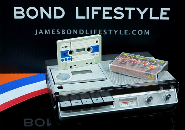 A Philips 2205 cassette tape recorder with C90 tape and World Of Marches (replica by Gadget Meister) tape