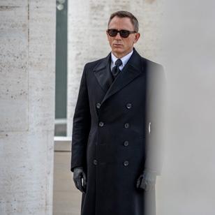 Daniel Craig as James Bond at the funeral scene in Rome