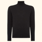 N.Peal Fine Gauge Mock Turtle Neck in the color Dark Charcoal Grey