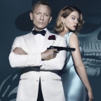 SPECTRE standee art with James Bond and Dr Madeleine Swann
