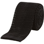 ta black knitted tie